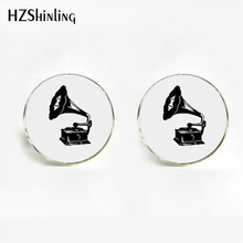 HZShinling 2017 Vintage Classic Gramophone Cufflinks Steampunk Phonograph Victorian Record Player Music Cufflink Men's Jewelry