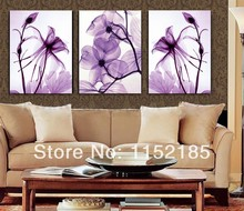 Realist purple painting wall art flowers 3 panel oil painting wall art on canvas for living room home decor