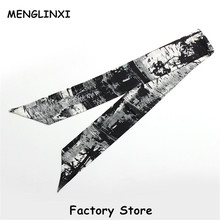 MENGLINXI 2017 120cm*8cm Bag Twilly Luxury Brand Floral Headband Handle Bag Ribbon Long Scarves Small Print Silk Scarf For Women