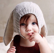 Winter Baby Rabbit Hat Long Ears Knitted Infant Toddler Cap For Children 0-3 Years Girl Boy Accessories Photography Props(China)