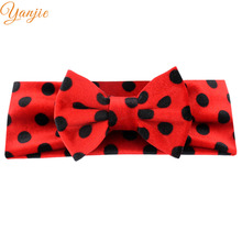 Infantile Girls 4'' Velvet Hair Bow Minnie Headband For Kids 2017 Polka Dots Elastic Winter Hair Band Christmas Hair Accessories(China)