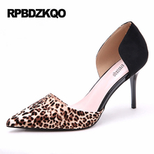Leopard Print High Heels Sandals Size 4 34 D'orsay Pointed Toe Small 2017 Sexy Pumps Scarpin Black Shoes Women Funky Pull On