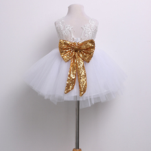 Kids Baby Girl Sequins Boknot Dress Party Dresses Christmas Costume Dress Wedding Bridesmaid Birthday Party Princess Dress(China)