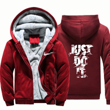 Hoodies just do it Sweateshirts Homens Parkas Jaqueta de Inverno Quente Mais Grossa de Veludo Hoodies Streetwear Sólida Casuais Mens Cardigan(China)