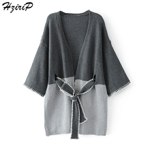 Buy HziriP Sweater Sashes Cardigans Women Coats Belt Tops Patchwork 2017 Autumn Ladies Clothing Open Stitch Female Fashion Sweaters for $26.65 in AliExpress store