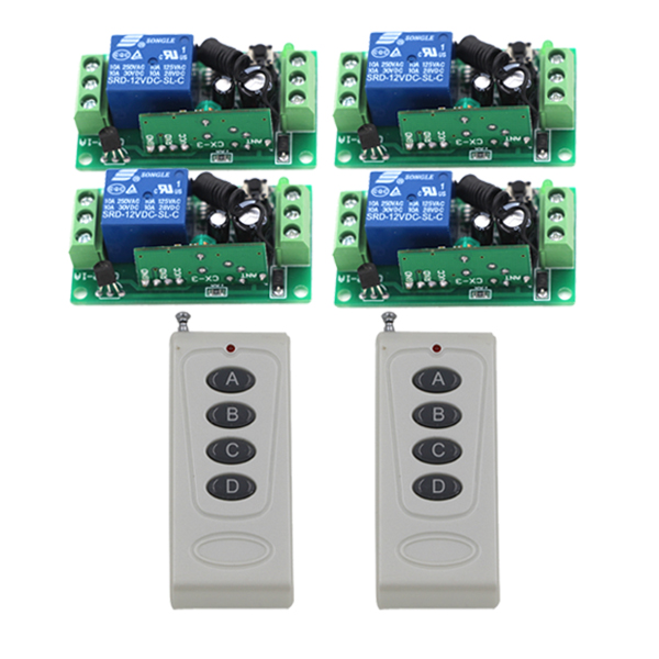 FREE SHIPPING 1 Channel AC DC 12V RF Wireless Remote Control Switch 4 Receiver + 2 Transmitter 315/433 MHz Learning Code 4228<br>