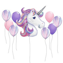 10pcs/lot 116CM Unicorn Foil Balloon 10 inch pink purple Helium Globos Inflatable Classic Toys baby Birthday Party Decorations(China)