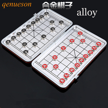 New Al alloy material Portable mini magnetic folding Chinese chess set child educational toys China national style Board games(China)