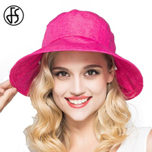 FS Womens Elegant Summer Floppy Hat Large Brim Beach Sun Hats With Bow Decoration For Ladies Visor Sunhat(China)