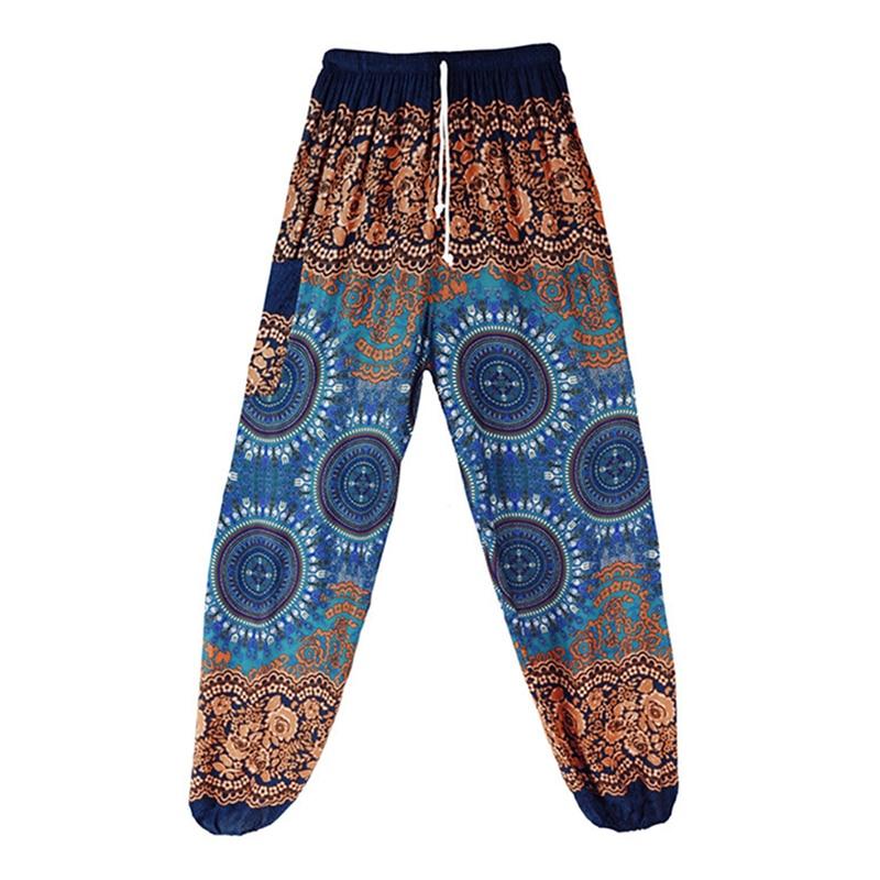 Women Summer Long Pants Loose Indie Folk Boho Female Harem Pants Baggy Hippie Gypsy Lantern Pants Printed Elastic Waist Spring