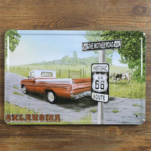 "UA-0569 New arrival  route 66 mother road and car truck "" vintage metal tin signs painting home decor wall art craft bar 20X30cm"