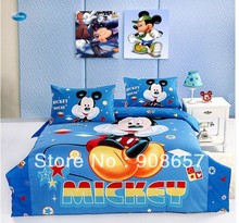Blue Mickey Mouse Print Twin Full Queen Size Childrens Cotton Home Textile Boys Quilt Duvet Covers 4-5Pc Bed Linen Bedding Sets