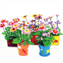 1set Colorful DIY Free Cut Creative Flower Pots Potted EVA Children Hand Materials Kindergarten Production Materials Funny Games(China)