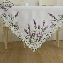 Hot Sale Dining Table Decoration 85cm Square Luxury Lavender Satin Fabric Cutwork White Embroidery Tablecloth