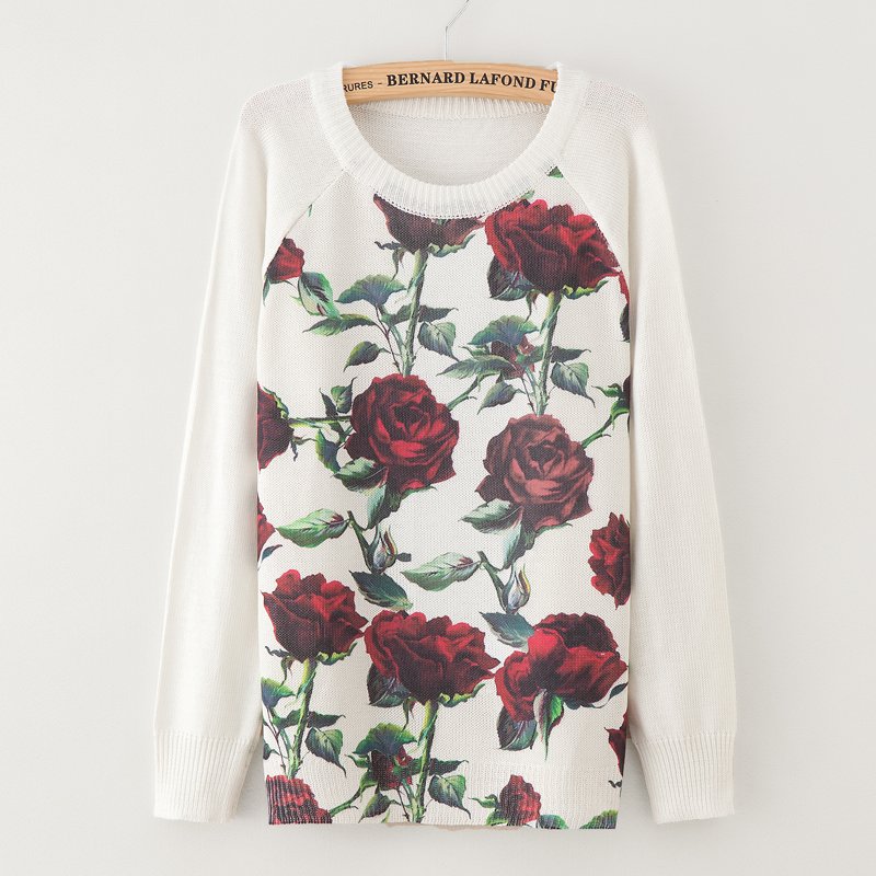Sweater fashion 18 women's rose printing fashion warm new Sweater Long Sleeve Stretch Pure Sweater Top Fall Winter Pullove 2