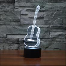 Six Strings Guitar Bedroom LED Desktop Table Lamp Christmas USB Valentines Day Birthday Gift 3D Touch Button Night Light