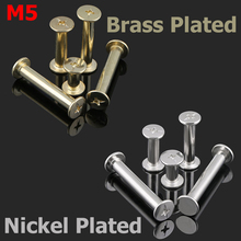 M5 M5x20 M5*20 Carbon Steel Brass Nickel Plated Photo Album Nail Snap Rivet Book Butt Binding Assembly Bolt Chicago Screw(China)