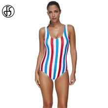 FS One Pieces Swimsuit Women Red Blue White Vertical Striped High Waist Tanks Backless Triangle Swimwear Brazilian Bathing Suits(China)