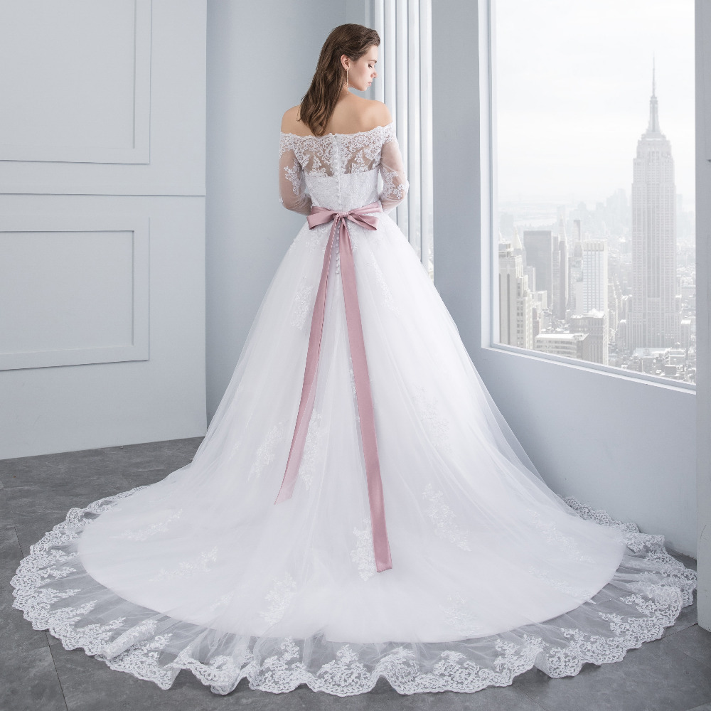 Lover Kiss Wedding Dresses Princess Lace Bridal Bride Gowns with veil robe de mariage Luxury Vintage Long Sleeves off Shoulder 2