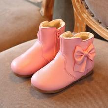 2017 Winter Girls Warm Velvet Plus Princess Ankle Boots Kids Solid Zipper Bowtie Fur Martin Snow Boots Soft Sole Baby Girl Boots