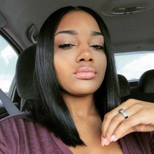Beaudiva Lace Front Human Hair Wigs Black Women Straight Full End Malaysian Straight Hair Short Bob Wig Middle Part