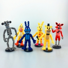 6PCS/SET 9CM Five Nights At Freddy's 4 FNAF Foxy Chica Bonnie Freddy Action Figures Doll Game Kid Toy Gifts