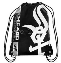 35*45 cm 110g knitted polyester Chicago White Sox backpack bagsin school bag sports bag with Metal Grommets(China)
