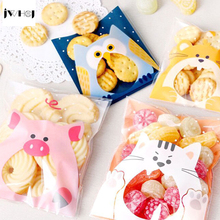 100 pcs Cartoon animal adhesive bag cookies diy Gift Bags for Christmas Wedding Party Candy Food&Handmade soap Packaging bags(China)