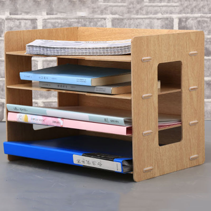 2017 Fashion DIY Wood Hand Made Desk Organizer Office School Supplies Desk Accessories Organizer 4 Layers File Tray Book Holder<br>