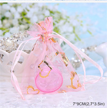 50pcs Ewelry Packaging Drawable Organza Bags 7x9cm Gift Bags Pouches Packing Bags Christmas Wedding Decoration Heart Candy Bag