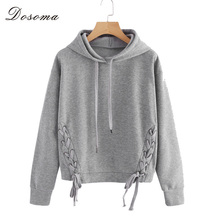 DOSOMA Fashion Hoodie Sweatshirt Women Long Sleeve Lace up Hooded Coats Casual Female Tops Hoodies Girls Sweatshirt Clothes(China)