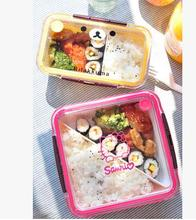 Kawaii Rilakkuma & Hello Kitty Cartoon Lunch Box Vacuum Bento Box with Spoon Dinnerware Set Retail KCS