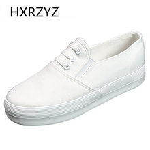 Brand HXRZYZ Spring/Autumn Loafers woman new thick bottom platform sneakers women canvas shoes flat shoes women black flats