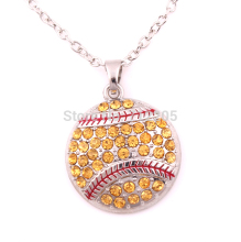 New product  10pcs zinc alloy rhodium Baseball or Softball Pave Crystal sports Pendant chain necklaces