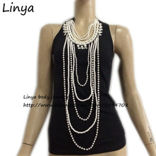 BC-460 Free shipping New Stylish and elegant oversized jeweled imitation pearl necklace long section of multilayer chain
