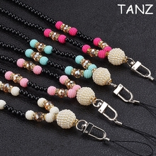 Pearl necklace Lanyard for cell phone key Mobile Phone Straps Keychain mobile chain straps Charm Cords Hang Rope Lanyard neck(China)