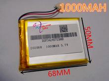 best battery brand  Size 265068 3.7V 1000mah Lithium polymer Battery with Protection Board For mobile phone Digital Product Free