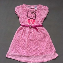 ,wholesale little Girl's summer Dresses,hello kitty dress in white and black striped design,net cute cat dress
