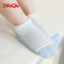 Fashion Children socks 100% cotton Multi-color boys Blue and white striped Boat sock kids girl Short socks 3 pairs / batch