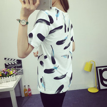 Lady T shirt Women Hello Kitty Feather Print Pattern T-shirt Tee Top ropa mujer vetement femme(China)
