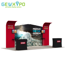 20ft Trade Show Booth Portable Tension Fabric Advertising Banner Display Wall With Two Hard Case Podium And Two LED Lights(China)