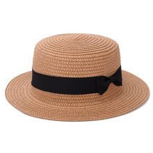 Lady Boater Sun Caps Ribbon Round Flat Top Straw Beach Hat Panama Hat  Summer Hats For Women Straw Hat Snapback Gorras a6d984d02d2d