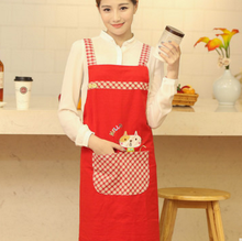 Cute Cat Printing Bib aprons Men and women chef restaurant tool cooking baking kitchen coffe Aprons Cotton Funny Aprons
