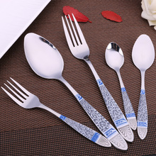 Keythemelife High Quality Blue Totem Stainless Steel Spoon Fork Tableware Tea Coffee Ice Cream Spoons Dinnerware D4
