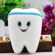 Mini 10cm Kawaii Tooth Jumbo Squishy Slow Rising Phone Straps Cartoon Teeth Blue/Pink Tooth Bread for Phone/Mp3/Bag Charm Strap(China)