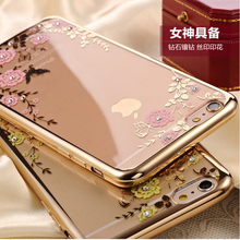 Secret Garden Flowers Phone plating Case Accessories for iPhone 7 6 6s 4.7 / Plus 5.5 SE 5 5S Rose Bling Diamond Bloom Cover