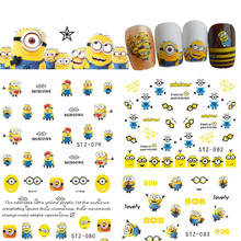1pcs 2017 Cute Cartoon Designs Children DIY Sticker Nail Art Water Transfer Decals for Manicure Nails Accessory STZ075-085