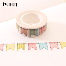1 x JWHCJ Colour Flag washi tape DIY decoration scrapbooking planner masking tape adhesive tape kawaii stationery Free shipping