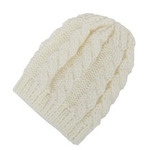 2016 New Arrival Baby Cream-colored Wool Hat Exported To Europe Warm Winter Baby Set of Head Cap Hats Cable Knit Beanie Sm all(China)