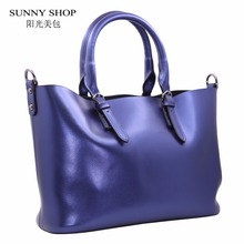 SUNNY SHOP LUXURY 100% Genuine Leather Women Shoulder Bags Brand Designer Cowhide genuine leather handbag Skin Crossbody bag(China)